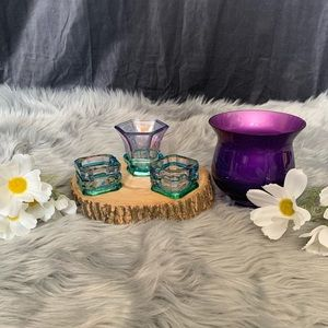 Vtg girly glass tea light holders & candle vase